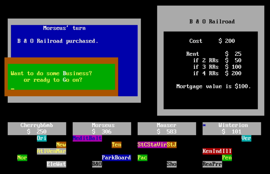 A screenshot from Don Phillip Gibson's MONOPOLY (version 6.8, released 1987). Note the use of sixteen colors, the clear presentation of player status, and the use of highlighted letter keys for player input.