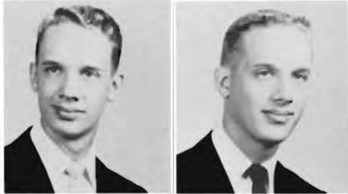 College yearbook photos of Don Gibson and Benn Gibson