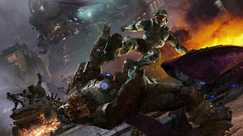 Master Chief fighting a Brute in Halo 2
