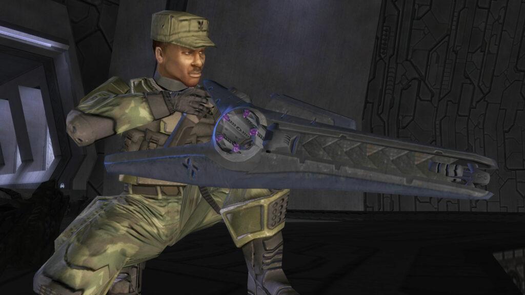 Sergeant Johnson in Halo 2 fighting Tartarus
