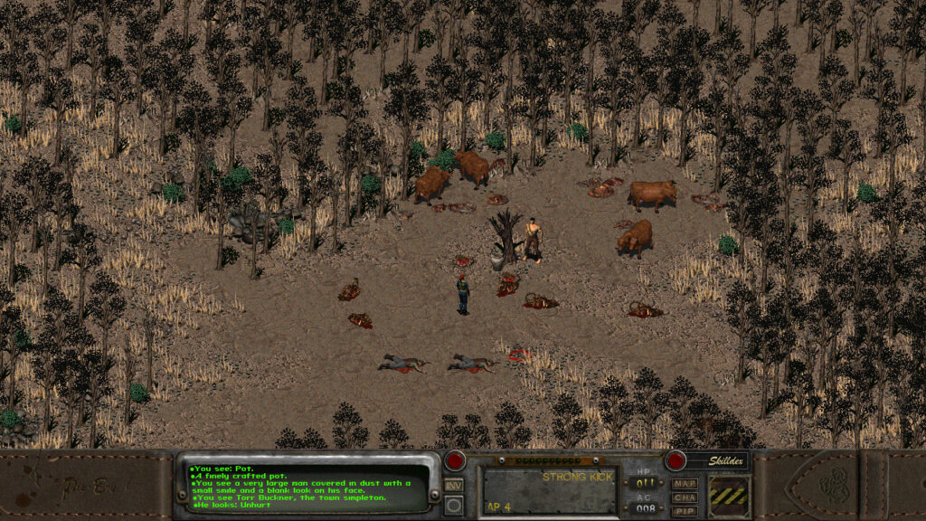 Fallout protagonist standing in a dry field with wild bison