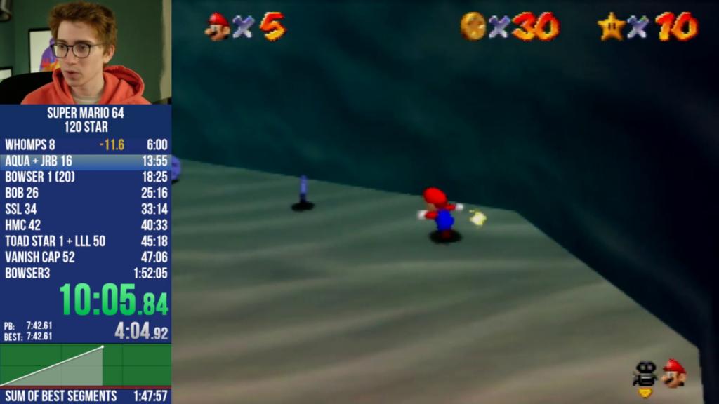 Clint Stevens playing Mario 64
