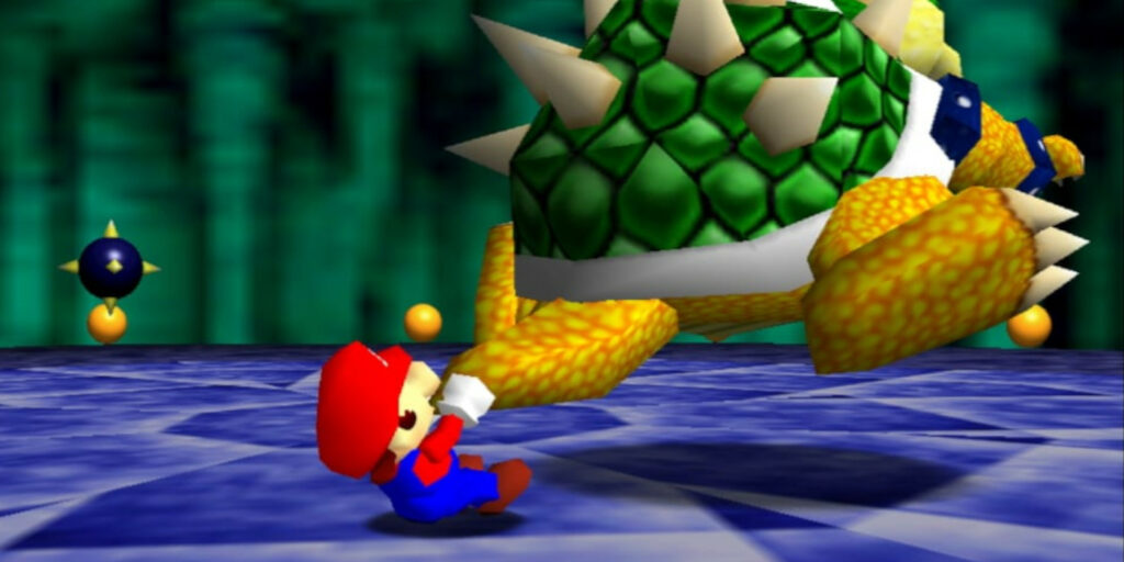 Mario throwing Bowser in 46