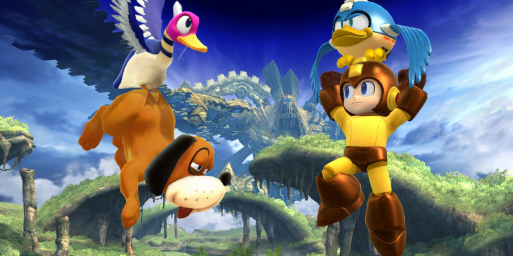 Duck Hunt Dog and Mega Man in Smash